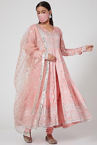 Peach Pink Embellished Anarkali Set by GOPI VAID