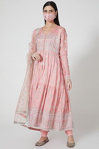 Blush Pink Embellished Anarkali Set by GOPI VAID
