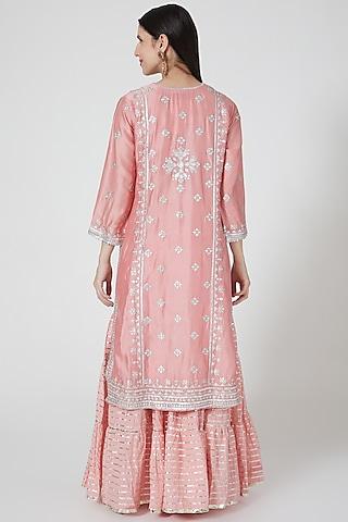 Blush Pink Embroidered Sharara Set by GOPI VAID