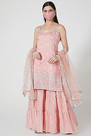 Blush Pink Embellished Sharara Set by GOPI VAID