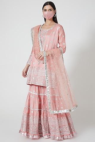 Blush Pink Mirror Embellished Sharara Set by GOPI VAID