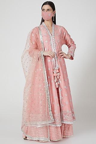 Blush Pink Sequins Embroidered Sharara Set by GOPI VAID