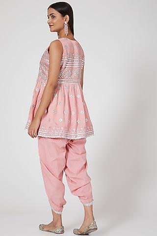 Peach Pink Embellished Dhoti Pant Set by GOPI VAID