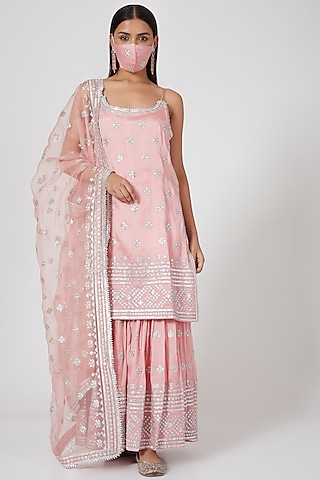 Peach Pink Embellished Gharara Set by GOPI VAID