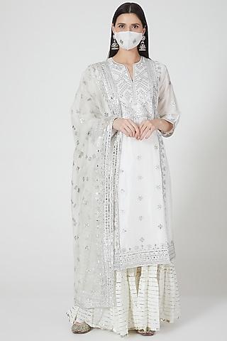 Ivory Embroidered Sharara Set by GOPI VAID