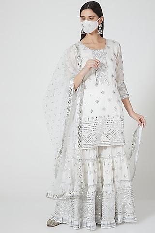 White Embellished Sharara Set by GOPI VAID
