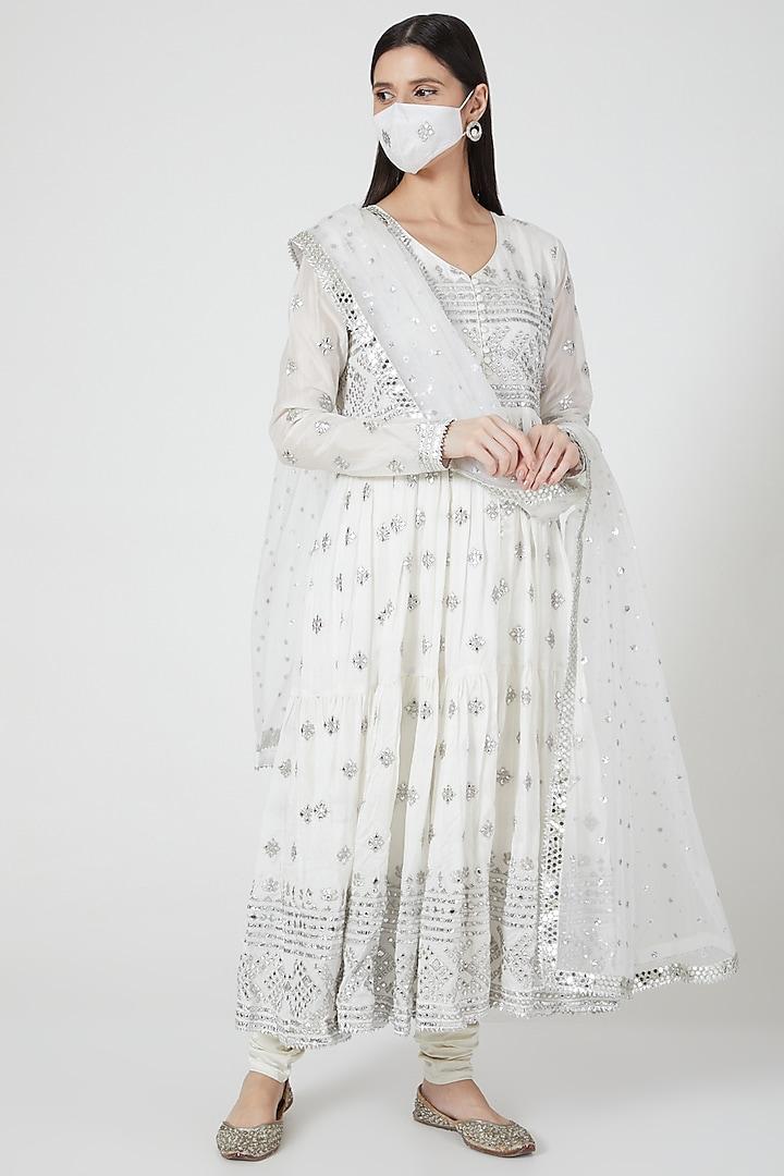 Ivory Embellished Anarkali Set by GOPI VAID
