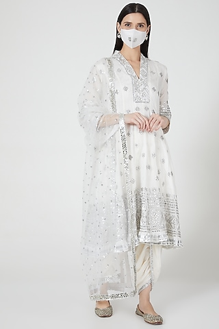 Ivory Embroidered Anarkali Set by GOPI VAID
