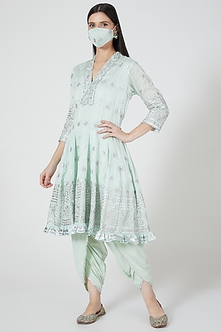 Mint Green Embroidered Anarkali Set by GOPI VAID