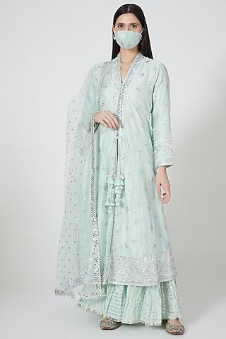 Mint Green Embroidered Sharara Set by GOPI VAID