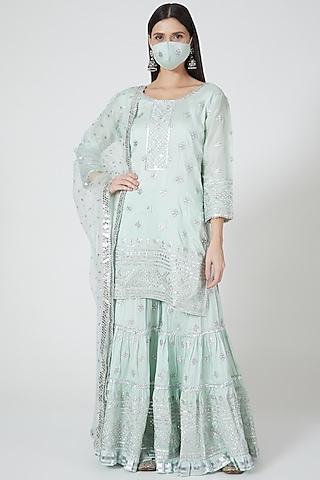 Mint Green Embellished Sharara Set by GOPI VAID