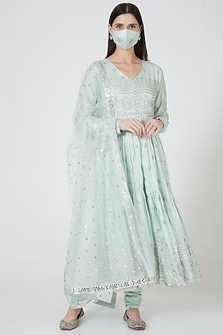 Mint Green Embellished Anarkali Set by GOPI VAID