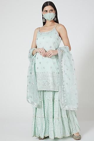Mint Green Mirror Embellished Sharara Set by GOPI VAID