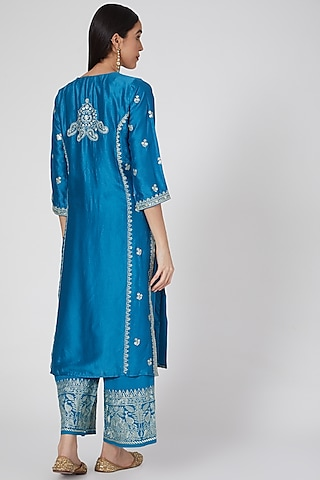 Blue Embroidered Kurta Set by GOPI VAID