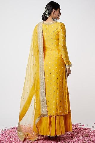 Yellow Sequins Embroidered Sharara Set by GOPI VAID