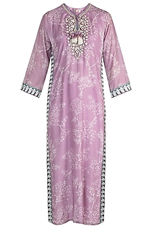 Mauve Embroidered Printed Tunic by GOPI VAID