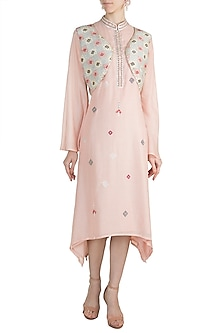 Blush Pink Embroidered Printed Tunic With Jacket by GOPI VAID