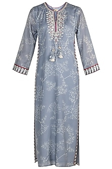 Grey Embroidered Printed Tunic by GOPI VAID