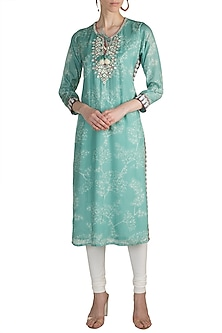 Mint Green Embroidered Printed Tunic by GOPI VAID