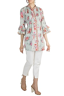 Sky Blue Embroidered & Printed Shirt by GOPI VAID