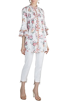 White Embroidered Printed Shirt by GOPI VAID