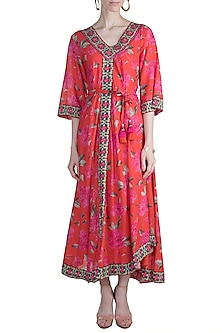 Red Printed Tie Dress by GOPI VAID