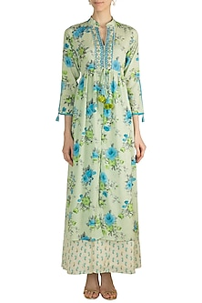 Mint Green Printed Embroidered Dress by GOPI VAID