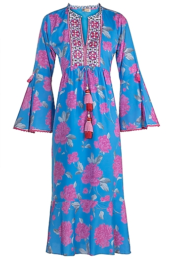 Blue Embroidered Printed Dress by GOPI VAID