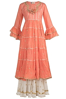 Peach Embroidered Layered Kurta Set by GOPI VAID