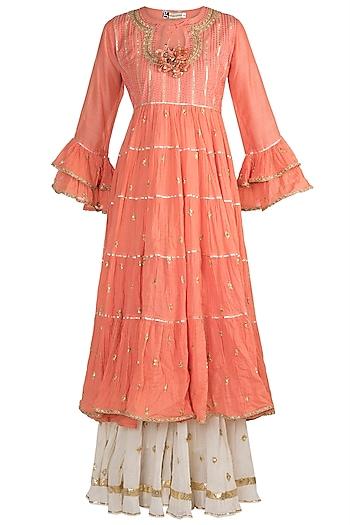 Peach Embroidered Layered Kurta Set by GOPI VAID