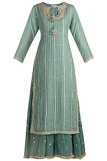 Teal Blue Embroidered Layered Gown by GOPI VAID