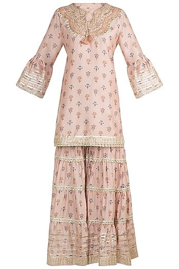 Blush Pink Printed & Embroidered Gharara Set by GOPI VAID
