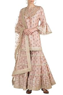 Blush Pink Printed & Embroidered Gharara Set by GOPI VAID