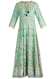 Mint Green Printed & Embroidered Kurta Set by GOPI VAID