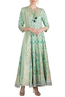 Mint Green Printed & Embroidered Kurta Set by GOPI VAID