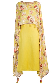 Yellow Embroidered & Printed Cape Dress by GOPI VAID