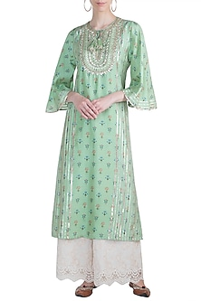 Mint Green Printed & Embroidered Tunic by GOPI VAID