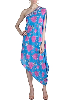 Blue Embroidered Printed One Shoulder Dress by GOPI VAID