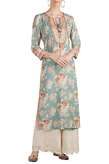 Teal Blue Printed & Embroidered Long Tunic by GOPI VAID