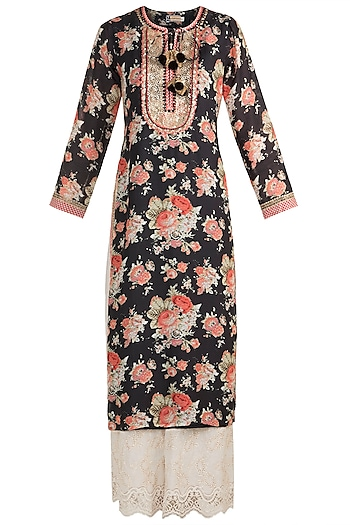 Black Printed & Embroidered Long Tunic by GOPI VAID