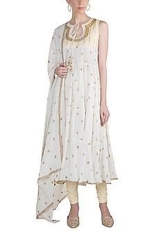 Off White Printed & Embroidered Kurta Set by GOPI VAID