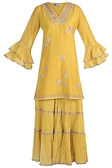 Haldi Yellow Embroidered Sharara Set by GOPI VAID