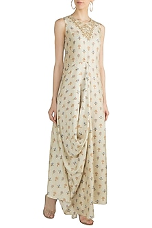 Beige Printed & Embroidered Cowl Dress by GOPI VAID