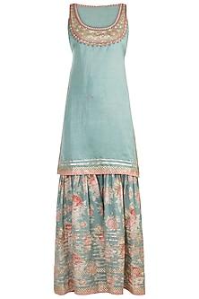 Teal Blue Embroidered & Printed Sharara Set by GOPI VAID