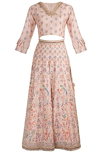 Blush Pink Embroidered & Printed Lehenga Set by GOPI VAID