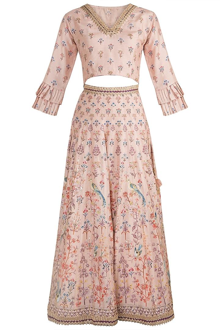 Blush Pink Embroidered & Printed Lehenga Set by GOPI VAID