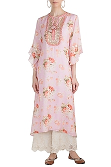 Blush Pink Embroidered & Printed Kaftan Tunic by GOPI VAID