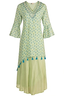 Mint Green Embroidered & Printed Layered Dress by GOPI VAID