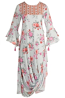 Sky Blue Floral Printed Dress by GOPI VAID