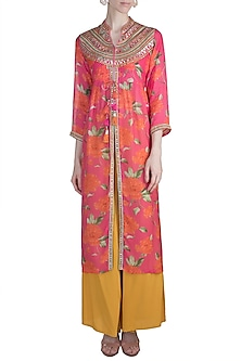Pink Floral Printed Tunic by GOPI VAID